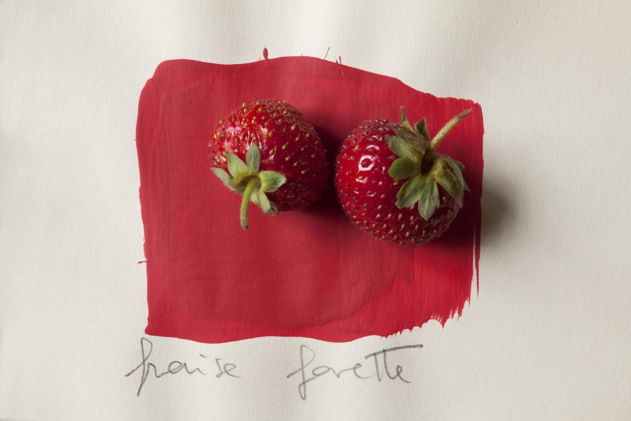 Immagine di fragole su tinta rossa