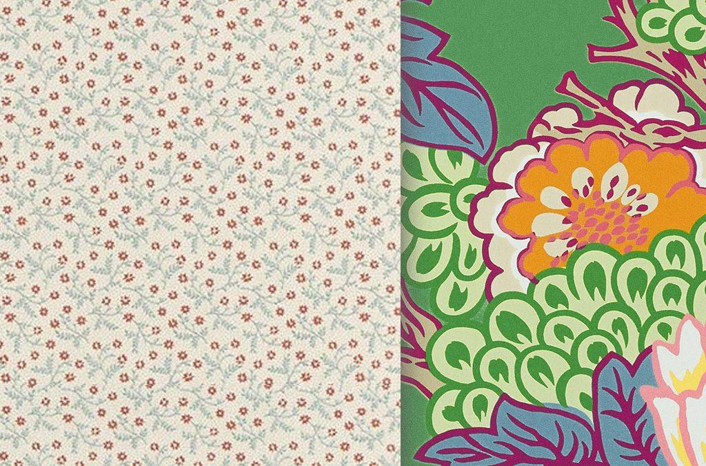 abbinamento carte da parati floreali micro e macro Jean Monro e Thibaut disponibili da Bludiprussia Roma